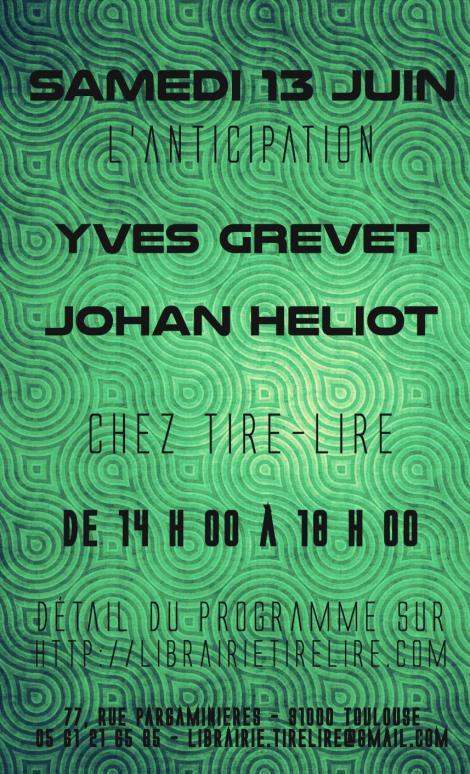affiche dédicace Johan Heliot librairie Tire-Lire